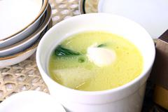 Food in china-- mushroom and pigeon eggs soup Stock Photos