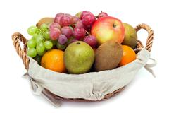a small set of fruit in a basket - stock photo