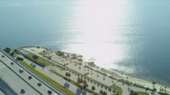 Aerial view Rickenbacker  Causeway, Miami Stock Footage