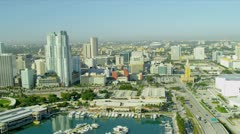 Aerial view Bayside Marketplace, Miami - stock footage