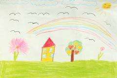 Children's drawing with house and flowers Stock Photos
