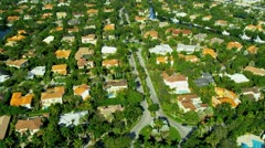 Aerial view residential  Coconut Grove South Miami - stock footage