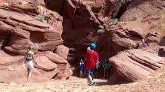 A group of tourists at Antelope Canyon. Arizona, USA. Stock Footage