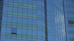 closeup skyscraper glass windows,business buildings district,global commerce. - stock footage
