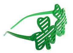 st. patrick's funky clover striped sunglasses - stock illustration