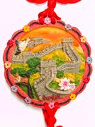 Great wall of china bas relief pendant isolated on white background Stock Photos