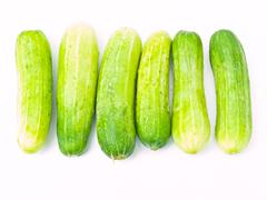 cucumbers isolated on white background - stock photo