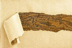 Stock Photo of wooden texture behind torn recycled paper