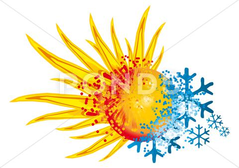Stock Illustration of logo hot and cold