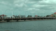 Historic Queen Emma Pontoon Bridge in Willemstad, Curacao Stock Footage