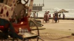 Zulu rickshaw drivers in traditional dress Stock Footage