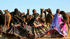 Rajasthan female traditional dancers, India Stock Footage