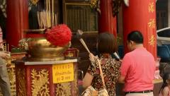 Thai People Praying on the Eve of Chinese New Year Stock Footage