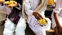 Food at local market food stall, Pushkar, India - stock footage