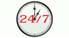 Clock: 24/7 Stock Footage