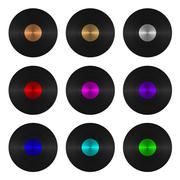 A set of nine vinyl records isolated Stock Illustration