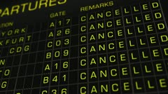 International Airport Timetable All Flights Cancelled 01 720 Stock Footage
