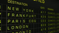 International Airport Timetable All Flights Cancelled 03 720 - stock footage