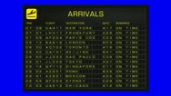 Stock Video Footage of International Airport Timetable All Flights Gets Cancelled BS ARRIVAL 720