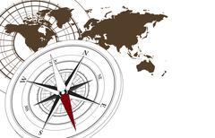 Compass and Map Stock Illustration