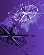 Compass and Map - stock illustration