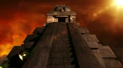 Maya Pyramid Dramatic Sunset 10 720 Stock Footage
