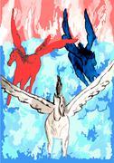 Punainen valkoinen sininen maalaus Piirros