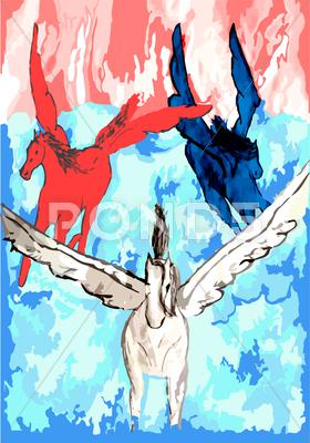Stock Illustration of red white blue painting