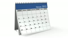 folding 2013 blue desktop calendar with alpha channel - stock footage