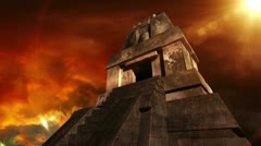 Maya Pyramid Dramatic Sunset 12 720 Stock Footage