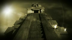 Maya Pyramid Dramatic Sunset 15 720 Stock Footage
