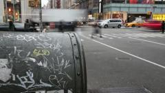 Graffiti on mail box in New York City Stock Footage