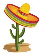 Sombrero on Cactus Stock Illustration