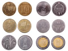 israeli coins - frontal - stock photo
