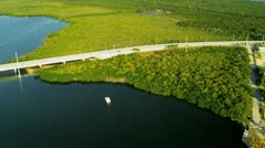 Aerial view US Route 1 Overseas Highway Key Largo - stock footage