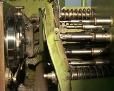 Close up driller and turning lathe Stock Footage