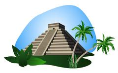 Antique Mayan Pyramid - stock illustration