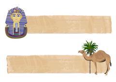 Tutankhamun and Camel Banners - stock illustration