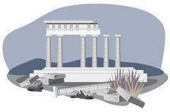 Antique Temple Ruins - stock illustration