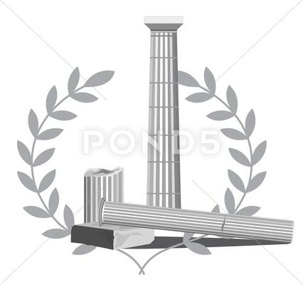 Stock Illustration of Antique Column Ruins