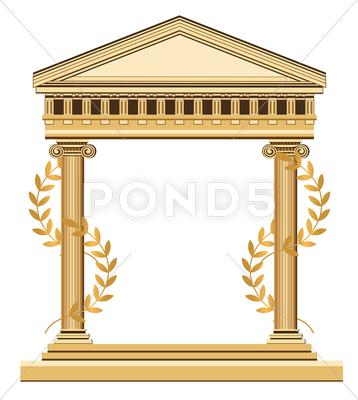 Stock Illustration of Antique Temple Facade