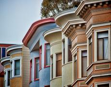 Colorful Row Houses - stock photo