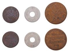 isolated palestine coins - frontal - stock photo