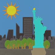 statue of liberty in stitch on fabric background - stock illustration