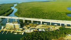 Stock Video Footage of Aerial view elevated highway  Route US 1 to Florida Keys