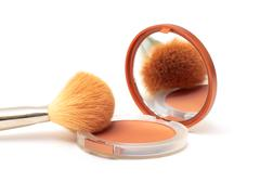 make-up powder in box with mirror - stock photo