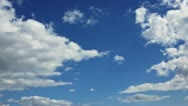 Stock Video Footage of White clouds on blue sky. Time-lapse motion background 1080p