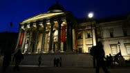 People walking Past The National Gallery, London Stock Footage