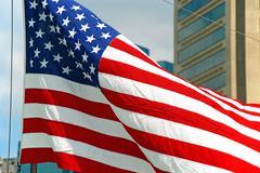 Meille lippu räpyttely tuulessa Baltimore Maryland Kuvituskuvat