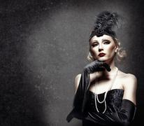 Female retro portrait. 30's of the xx century. professional makeup Stock Photos